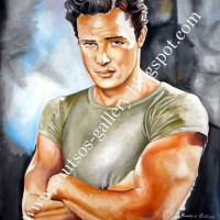"Marlon Brando ""A Streetcar Named Desire""1951 (Elia Kazan) - Giant original painting-portrait, canvas"