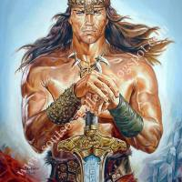 "Arnold Schwarzenegger, ""Conan The Destroyer"" 1984 - Giant original painting portrait, plastic colors, 120x150cm canvas"