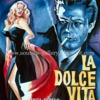 "Marcello Mastroianni, Anita Ekberg ""La Dolce Vita"" 1960 (Federico Fellini) - Giant original painting-poster, canvas"