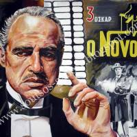 "Marlon Brando ""The Godfather""1972 (Francis Ford Coppola) - original painting poster, plastic colors, 100x130cm canvas"