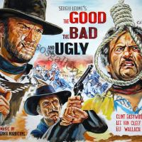 "Clint Eastwood, Lee Van Cleef, Eli Wallach, Sergio Leone's ""The Good, The Bad And The Ugly"" 1966 - Giant original painting poster, canvas"