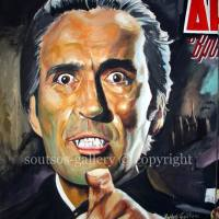"Cristopher Lee ""Horror Of Dracula"" 1958 (Terence Fisher) - original painting Giant-poster, plastic colors, 220x140cm canvas"