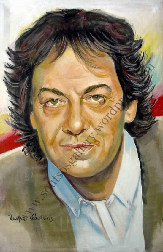 Giannis Parios / Γιάννης Πάριος πορτραίτο, αυθεντικός πίνακας ζωγραφικής, πλαστικά χρώματα 100Χ67εκ καμβάς