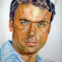 Giannis Poulopoulos / Γιάννης Πουλόπουλος - πορτραίτο, αυθεντικός πίνακας ζωγραφικής, πλαστικά χρώματα 50Χ70εκ καμβάς