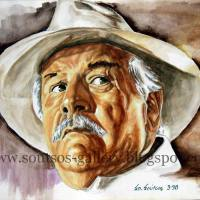 "Peter Ustinov ""Appointment with Death"" 1988 (Hercule Poirot, Agatha Christie) - original painting portrait"