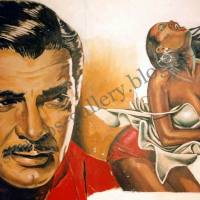 "Clark Gable ""Mogambo"" 1953 - wall painting giant-portrait, plastic colors"