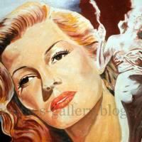 "Rita Hayworth ""Gilda"" 1946 - Giant original painting-poster, canvas"