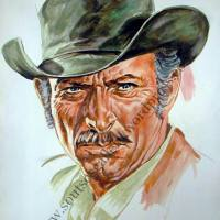 Lee Van Cleef - original painting portrait, plastic colors, canvas