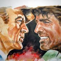 "Gary Cooper, Burt Lancaster ""Vera Cruz"" 1954 (Robert Aldrich) - original painting-poster, plastic colors, 55x75cm"
