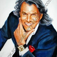 Ilias Psinakis / Ηλίας Ψινάκης - πορτραίτο, αυθεντικός πίνακας ζωγραφικής, πλαστικά χρώματα, 68Χ90εκ καμβάς