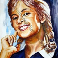 "Aliki Vougiouklaki / Αλίκη Βουγιουκλάκη ""Το Ξύλο Βγήκε απ`τον Παράδεισο"" 1959 (Αλέκος Σακελλάριος)- πορτραίτο, αυθεντικός πίνακας ζωγραφικής, πλαστικά χρώματα, 70Χ90εκ καμβάς"