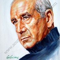 Dimitris Mitropanos / Δημήτρης Μητροπάνος – πορτραίτο, αυθεντικός πίνακας ζωγραφικής, πλαστικά χρώματα 50Χ70εκ καμβάς