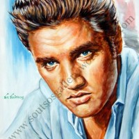 "Elvis Presley ""Jailhouse Rock"" 1957 - original painting portrait, acrylics, plastic colors 75x55cm canvas"