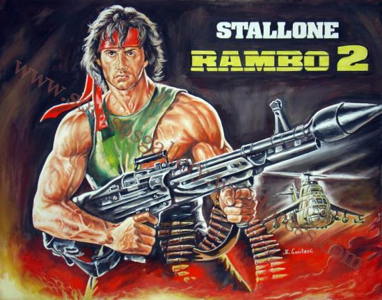 "Sylvester Stallone ""Rambo 2"" 1985 - Original Painting Giant-Poster plastic & acrylic paints, 110x140cm canvas"