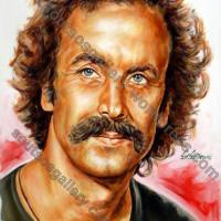 Nikos Xylouris / Νίκος Ξυλούρης – πορτραίτο, αυθεντικός πίνακας ζωγραφικής, πλαστικά χρώματα 55Χ75εκ καμβάς