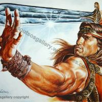 "Arnold Schwarzenegger, ""Conan The Barbarian"" 1982 – Original Painting Poster plastic & acrylic paints, 97x130cm canvas"