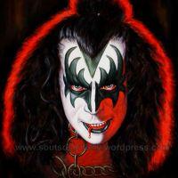 Gene Simmons, KISS – Original Painting Portrait, plastic & acrylic paints, 97x75cm canvas