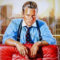 "Michael Douglas ""Wall Street""1987 (Oliver Stone) - Original Painting Portrait, plastic & acrylic paints, 97x130cm canvas"