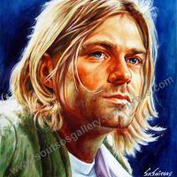 Kurt Cobain, Nirvana - original painting portrait, acrylics, plastic colors 75x55cm canvas