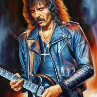 Tony Iommi, Black Sabbath – Original Painting Portrait, plastic & acrylic paints, 97x130cm canvas
