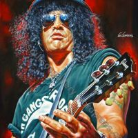 Slash, Guns N' Roses, Slash's Snakepit, Velvet Revolver - Original Painting Portrait, plastic & acrylic paints, 97x130cm canvas
