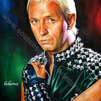 Rob Halford, Judas Priest - Original Painting Portrait Art, plastic & acrylic paints, 97x70cm canvas