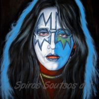 Ace Frehley, KISS – Original Painting Portrait, plastic & acrylic paints, 97x75cm canvas