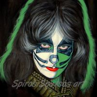 Peter Criss, KISS – Original Painting Portrait, plastic & acrylic paints, 97x75cm canvas